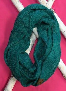 Sea Green Knit Winter Infinity Scarf