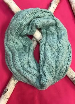 Mint Knit Winter Infinity Scarf