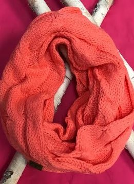 Coral Knit Winter Infinity Scarf