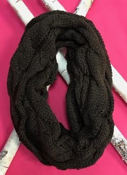 Brown Knit Winter Infinity Scarf