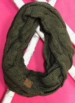New Olive Knit Winter Infinity Scarf