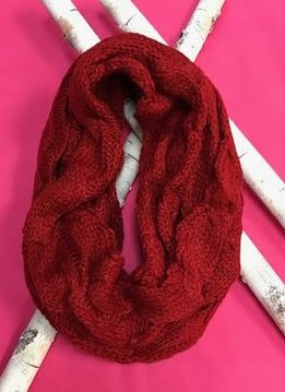 Red Knit Winter Infinity Scarf