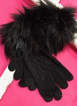 Black Knit Gloves with Fur