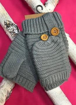 Gray Knit Open Finger Glove with Cover