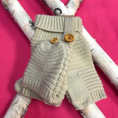 Beige Knit Open Finger Glove with Cover