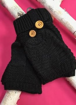 Black Knit Open Finger Glove with Cover