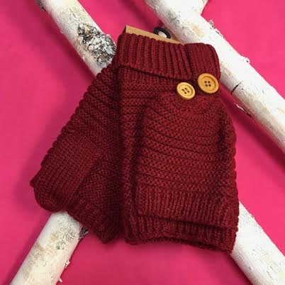 Burgundy Knit Open Finger Glove with Cover