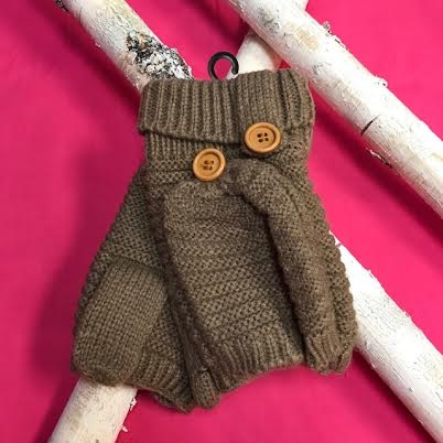 Taupe Knit Open Finger Glove with Cover