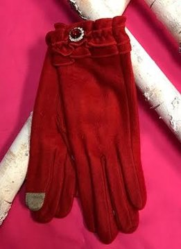 Soft Red Gloves with Ruffle and Rhinestone Jewel