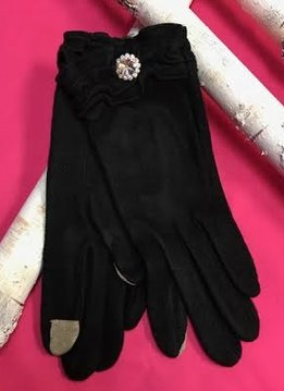 Soft Black Gloves with Ruffle and Rhinestone Jewel
