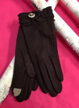 Soft Brown Gloves with Ruffle and Rhinestone Jewel