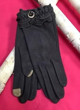 Soft Gray Gloves with Ruffle and Rhinestone Jewel