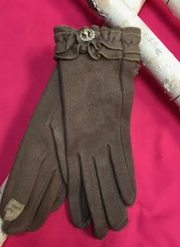 Soft Taupe Gloves with Ruffle and Rhinestone Jewel