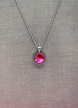 Forever Crystals Silver Pendant Bezel Rivoli Rose