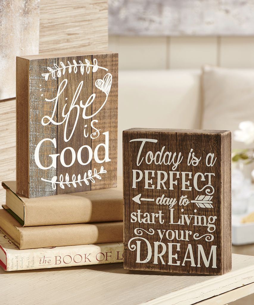 "Wooden Desk Block ""Today is a PERFECT Day to Start Living Your DREAM"""