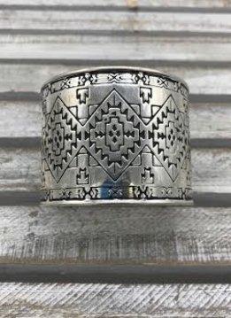 Silver Cuff Bracelet with an Intricate Design