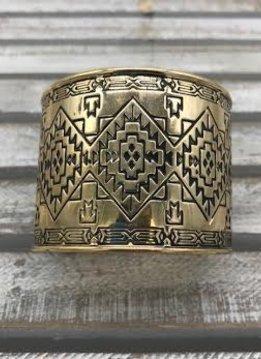 Gold Cuff Bracelet with an Intricate Design