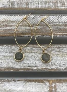 Gold Dangling Hoop Earrings with a Labradorite Stone