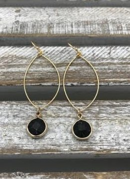 Gold Dangling Hoop Earring with a Black Stone
