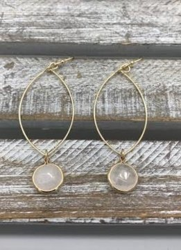 Gold Dangling Hoop Earring with Rose Quartz Stone