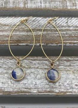 Gold Dangling Hoop Earring with a Navy Blue Stone