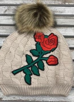 Beige Pom Hat with Red Flower Design