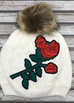 White Pom Hat with Red Flower Design