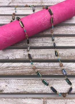 Abalone Beads on a Gold Necklace