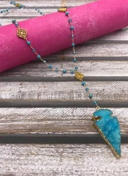 Turquoise and Blue Crystal Rock Arrow Pendant Necklace