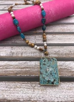 Large Jasper Pendant on a Blue and Brown Beaded Necklace