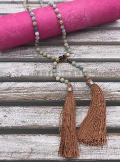 Polished Amazonite Lariat with Tassel Ends
