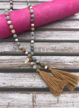 Amazonite and Pearl Tan Tassel Necklace