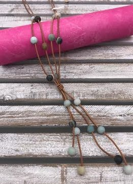 Amazonite Bead on Tan Rope Necklace
