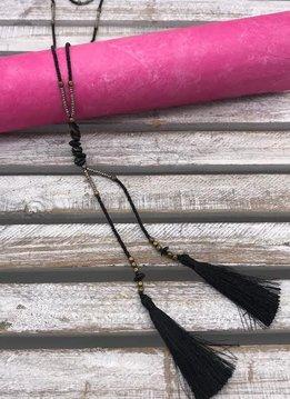 Black Seed Bead Long Tassel Necklace