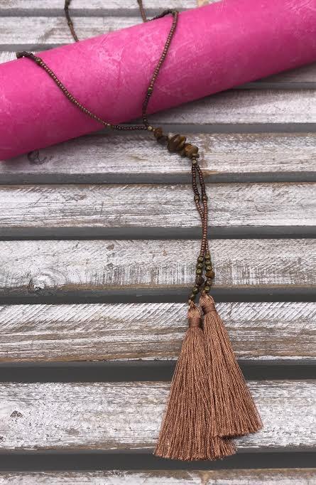 Brown Seed Bead Long Tassel Necklace