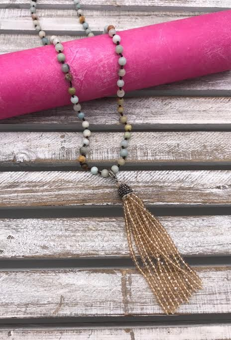 Amazonite Necklace with Crystal Champagne Tassel