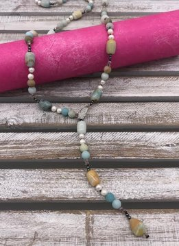 Amazonite with Pearls and Adjustable Leaf Neckace
