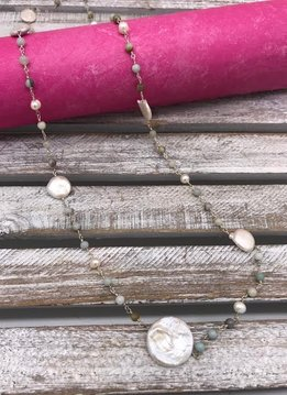 Sterling Silver Necklace with Amazonite Beads and Flattened Pearl