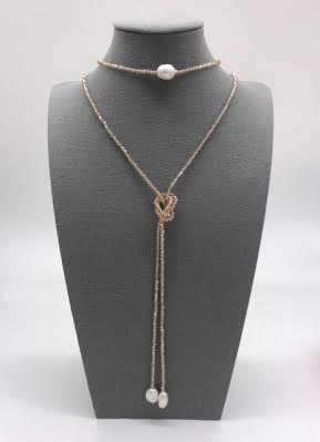Czech Crystals Champagne and Pearl Lariat