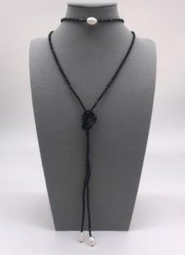 Czech Crystal Black with Pearls Lariat