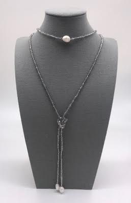 Czech Crystal Gray with Pearls Lariat