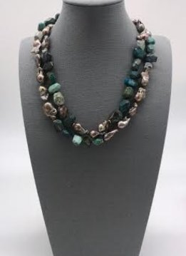 Gold Pearl Two Strand Turquoise Necklace