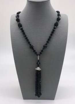 Black Crystal Necklace with Removable Tassel