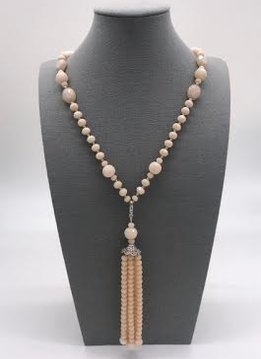 Blush Crystal Necklace with a Removable Tassel