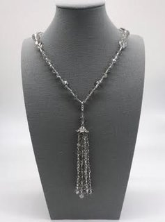 Silver Crystal Necklace with a Removable Tassel