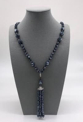 Gunmetal Crystal Necklace with a Removable Tassel