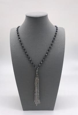 Gray Beaded Necklace with Tassel