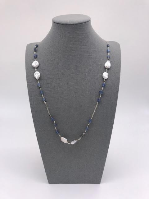 Blue Kyanite Long Necklace wth Flsttened Mother of Pearl