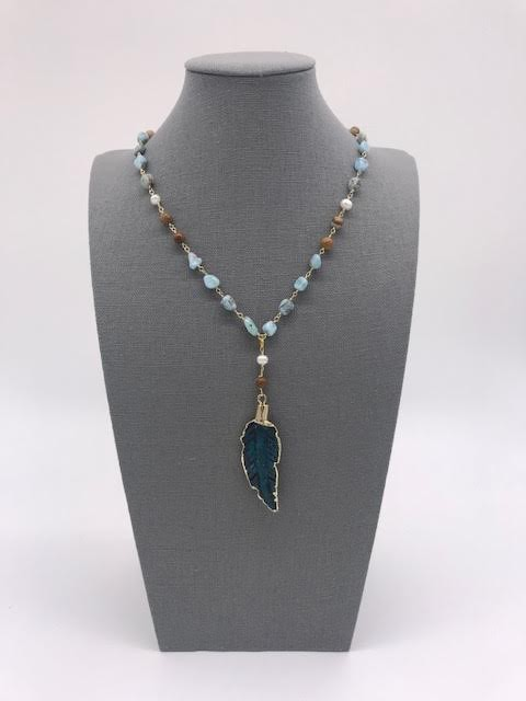 Amazonite Beads with Mother of Pearls Leaf Pendant