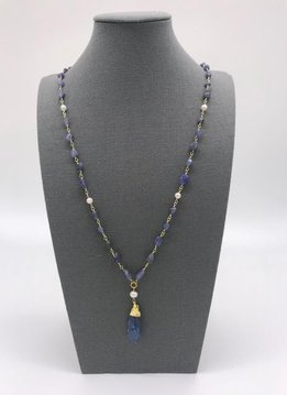 Blue Kyanite Necklace in Gold